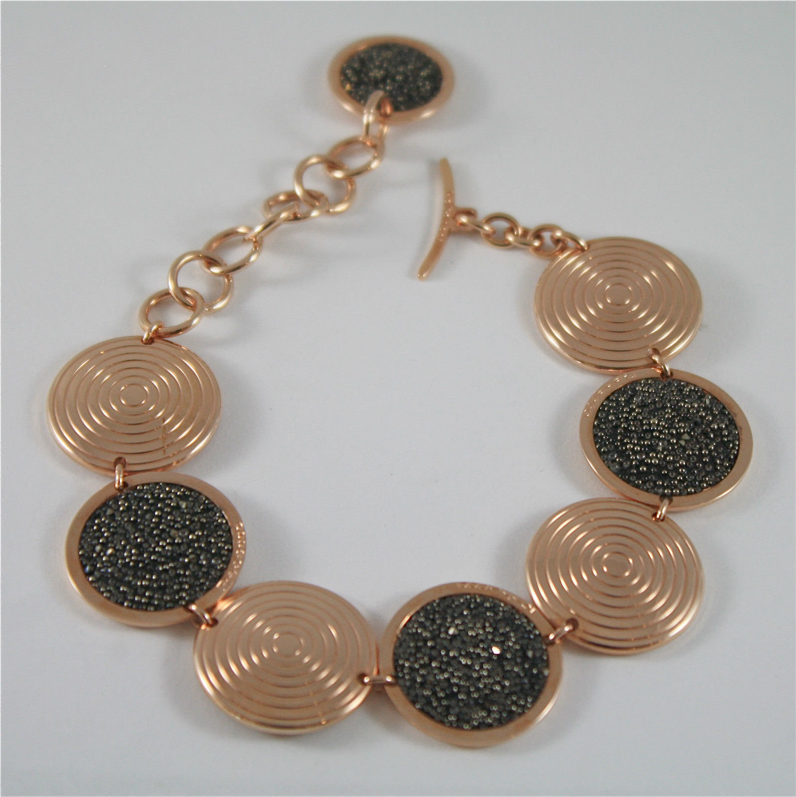 ROSE GOLD PLATED BRONZE REBECCA BRACELET WITH GLAM BWABRS18 MADE IN ITALY
