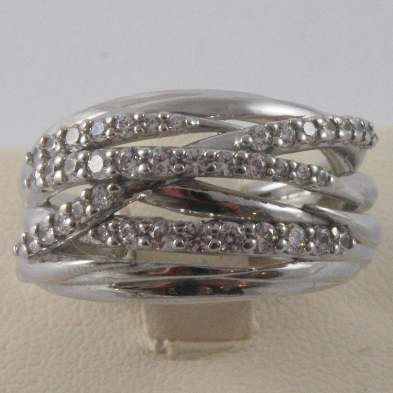 SOLID 925 SILVER BAND RING BY NANIS, MULTIWIRES, WOVEN, ZIRCONIA, MADE IN ITAL