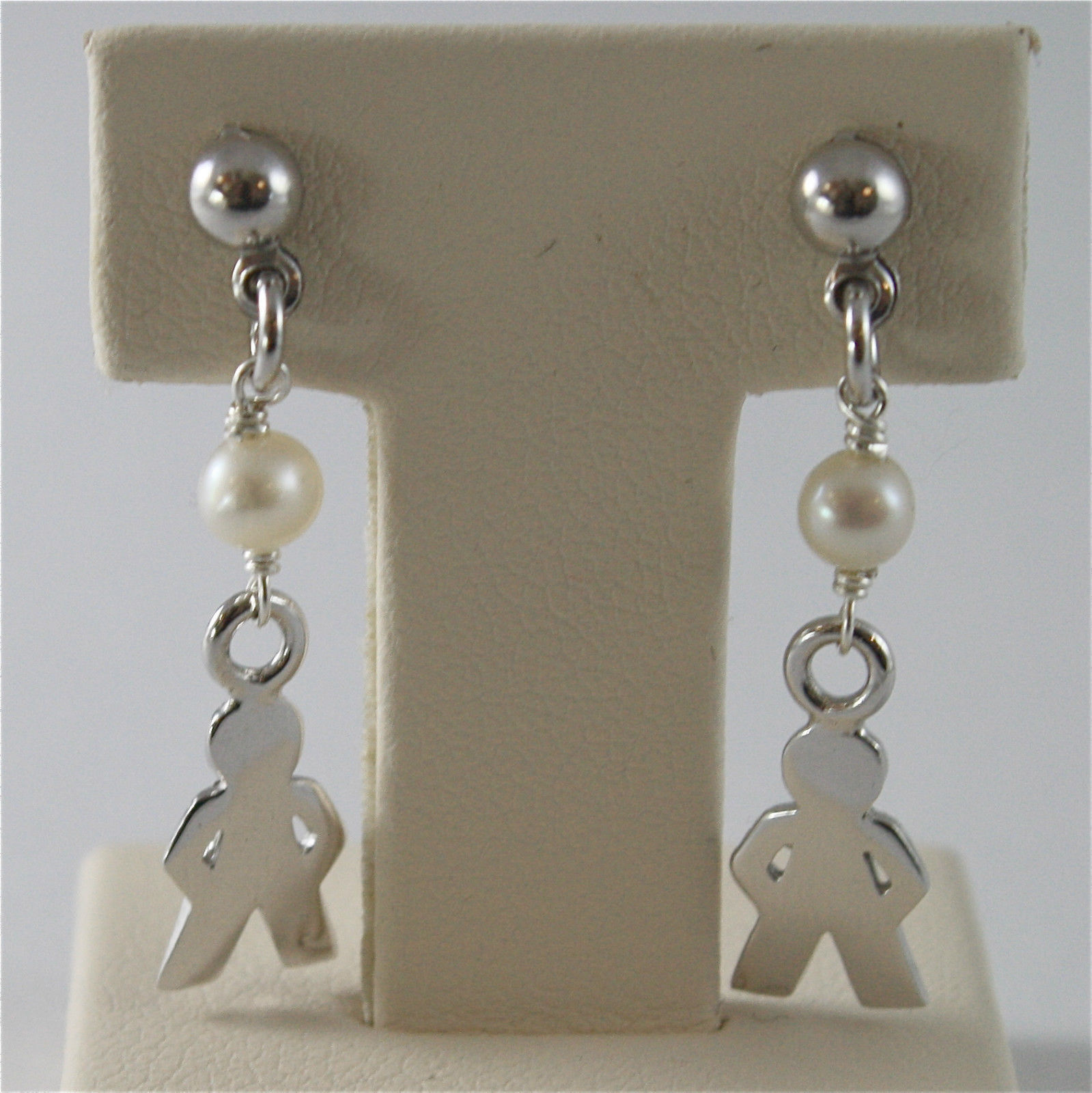 925 RHODIUM SILVER EARRINGS WITH 4 MM FW PEARLS AND BABY BOY PENDANTS 1.18 INCH