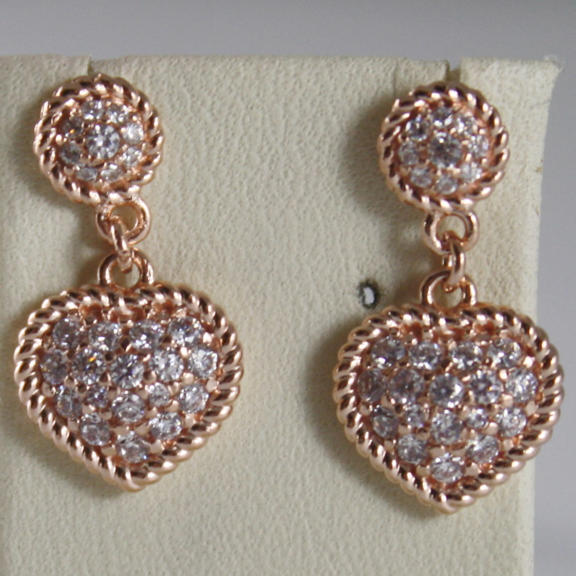 BRONZE EARRINGS, HEART & CUBIC ZIRCONIA B14ORB11, ROSE, BY REBECCA MADE IN ITAL