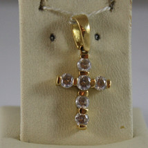 SOLID 18K YELLOW GOLD CROSS PENDANT WITH ZIRCONIA LENGTH 0,94 IN MADE IN ITALY