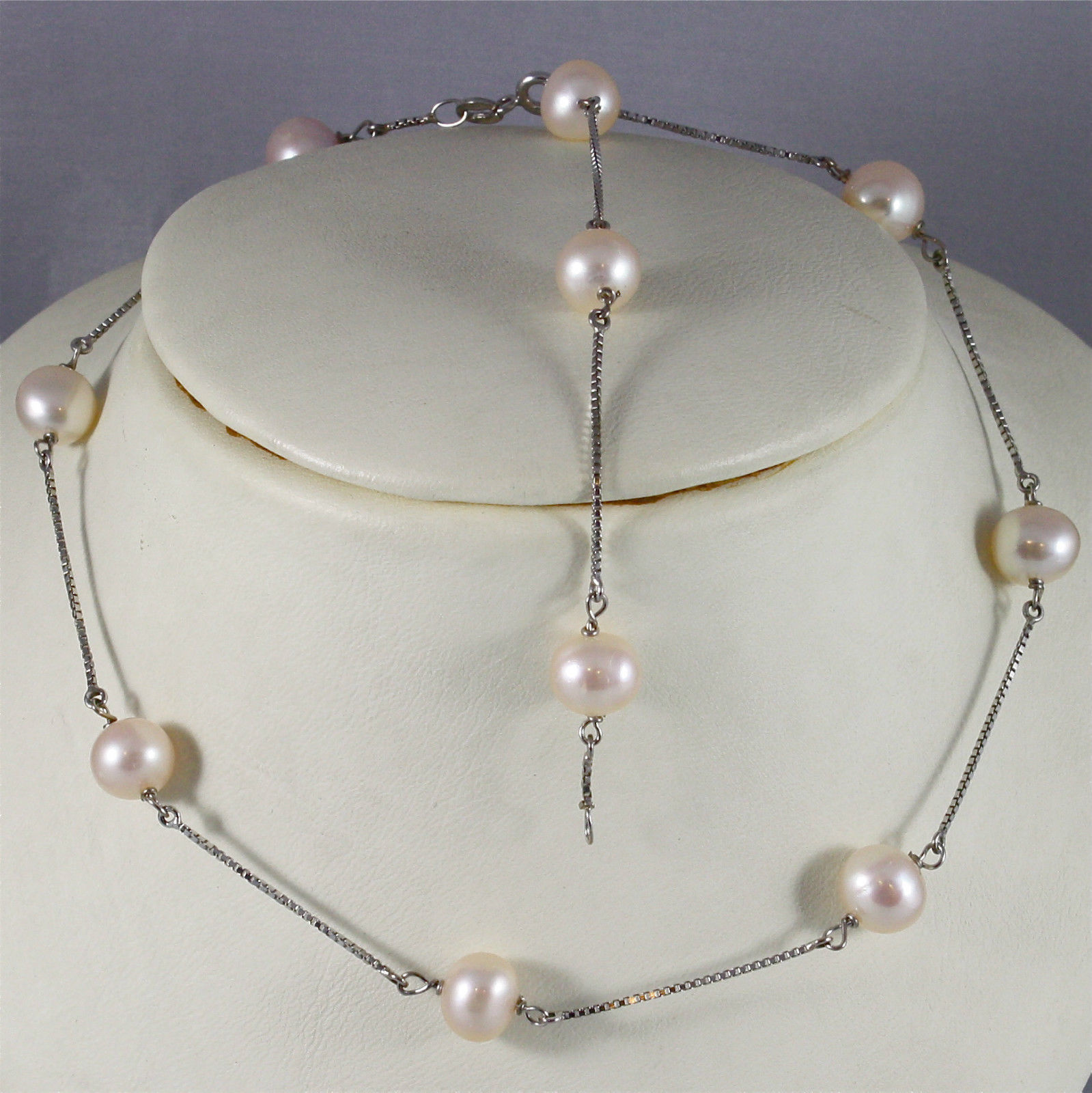 18K WHITE GOLD NECKLACE (44 CM, 17.32 IN) WITH ROSE PEARL, MADE IN ITALY