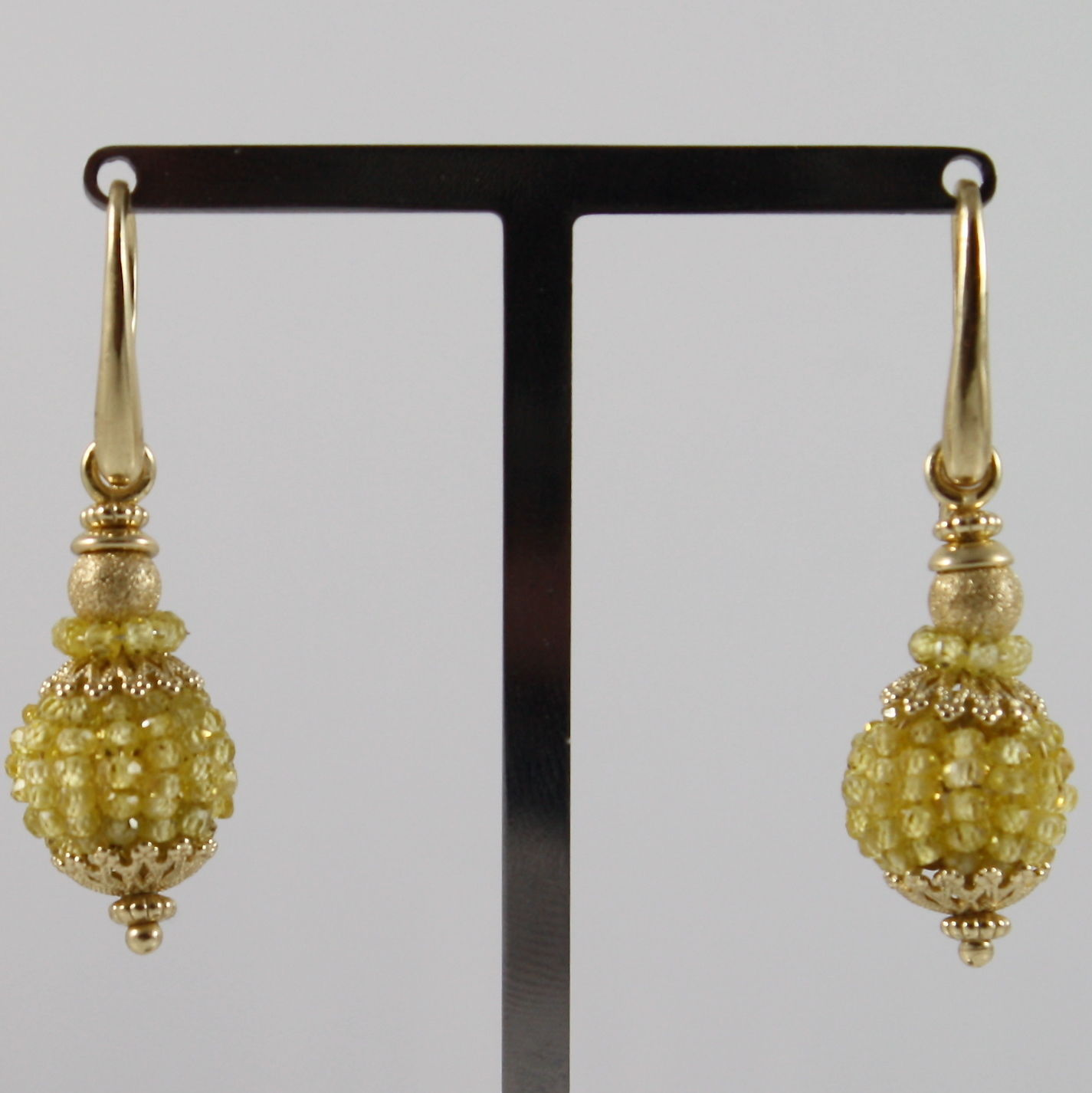 925 SILVER EARRINGS PLAT. GOLD WITH LEMON QUARTZ, MADE IN ITALY BY SAVOIA JEWEL