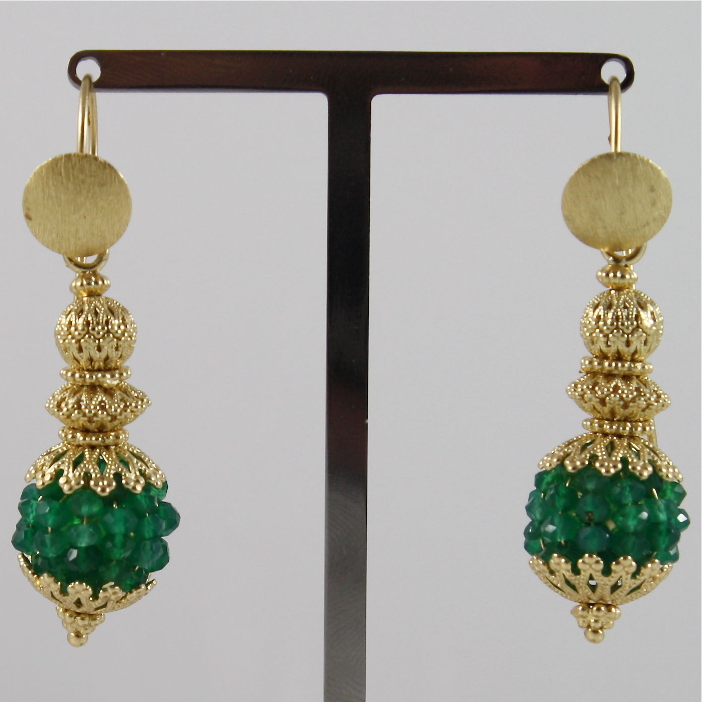 925 SILVER EARRINGS PLAT. GOLD FACETED AVENTURINE MADE IN ITALY BY SAVOIA JEWEL