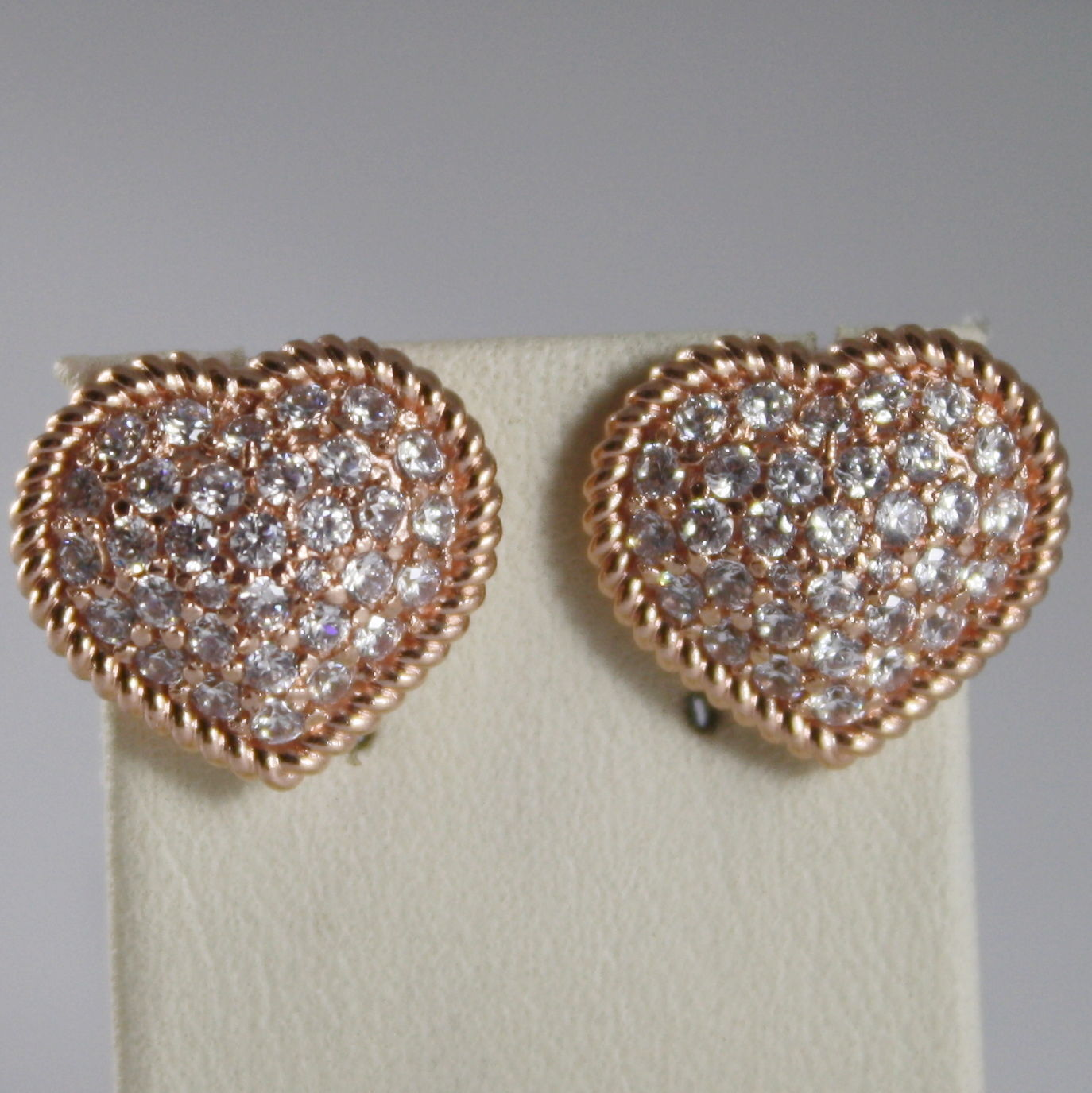 BRONZE EARRINGS, HEART & CUBIC ZIRCONIA B14ORB58, ROSE, BY REBECCA MADE IN ITAL