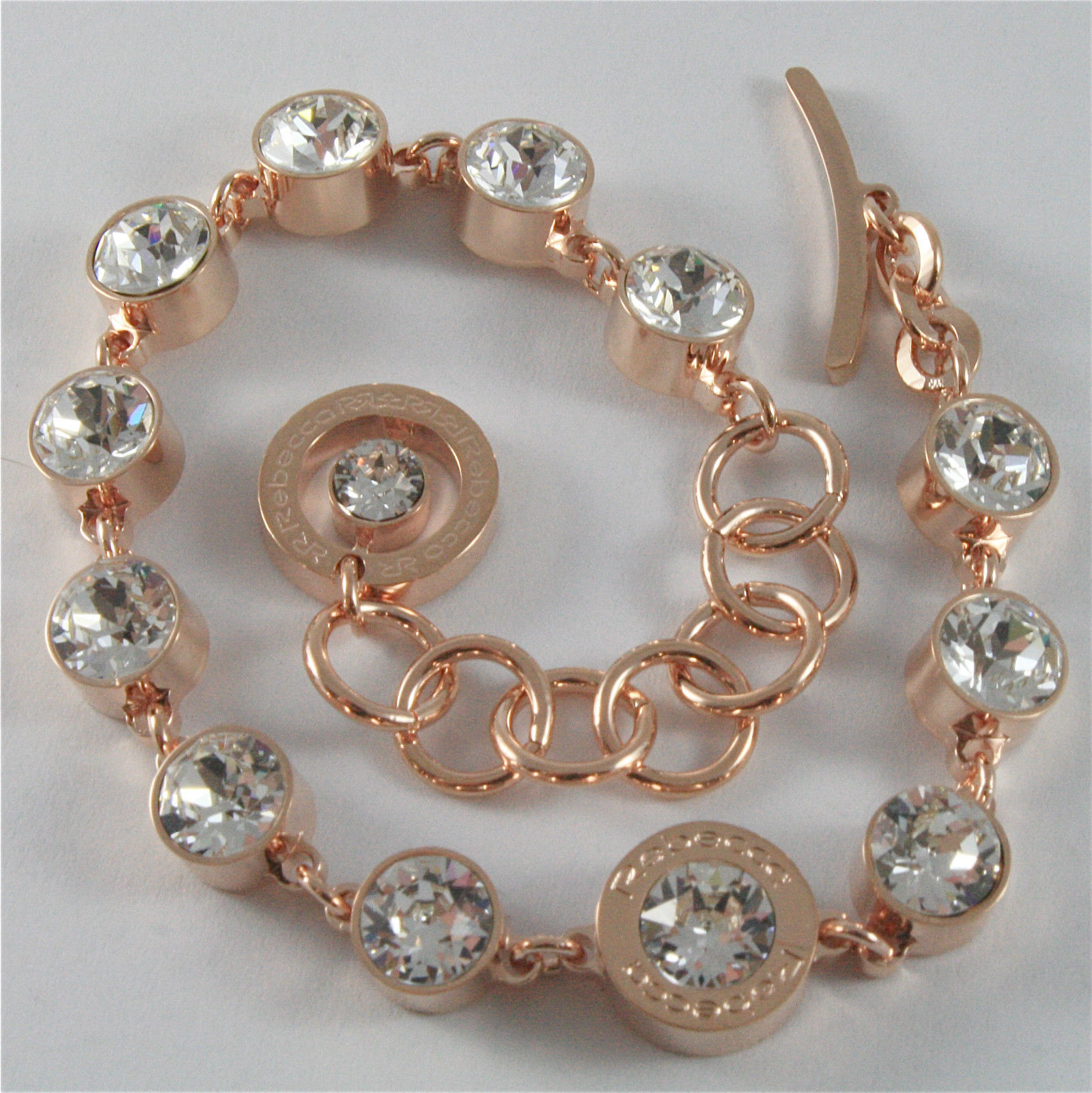 ROSE GOLD PLATED BRONZE REBECCA TENNIS BRACELET BPBBRB33 MADE IN ITALY 7.48 IN