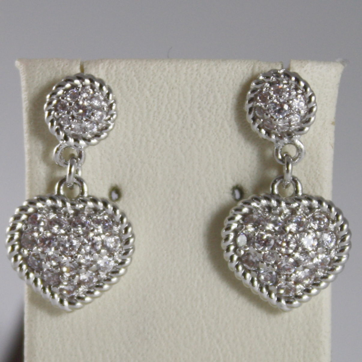 RHODIUM BRONZE EARRINGS HEART, CUBIC ZIRCONIA B14OBB11, BY REBECCA MADE IN ITAL