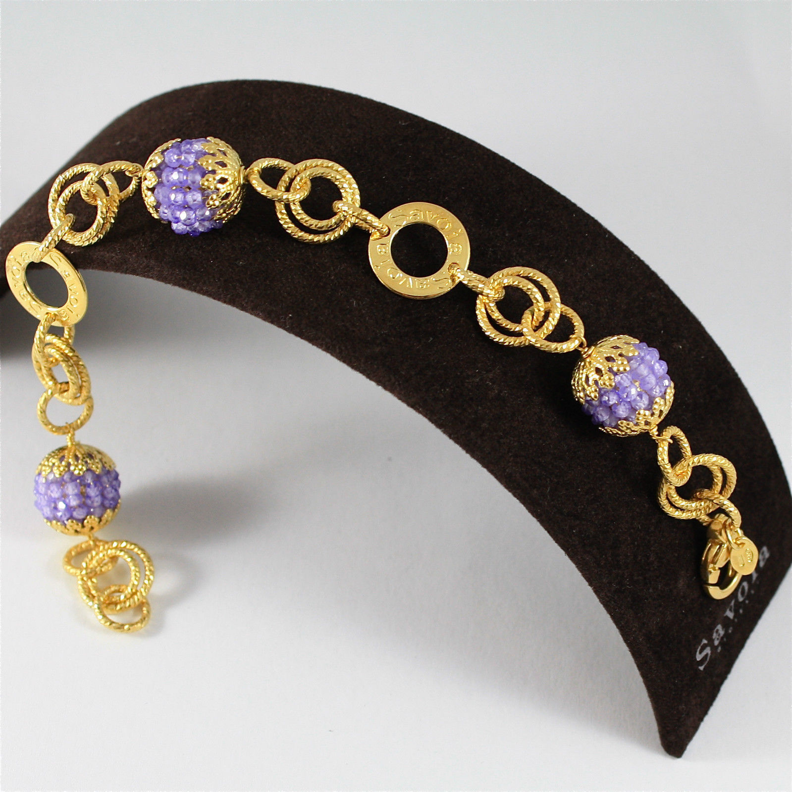 925 SILVER BRACELET, GOLD PL, FACETED AMETHYST, MADE IN ITALY BY SAVOIA JEWELS