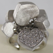 925 RHODIUM SILVER RING CLUSTER HEART WITH CUBIC ZIRCONIA BY NANIS MADE IN ITAL