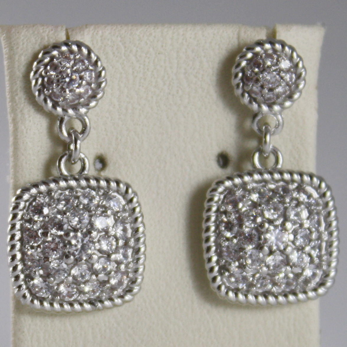 RHODIUM BRONZE EARRINGS SQUARE CUBIC ZIRCONIA B14OBB14, BY REBECCA MADE IN ITAL