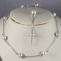 18K WHITE GOLD NECKLACE (44 CM, 17.32 IN) WITH PURPLE WHITE PEARLS MADE IN ITALY