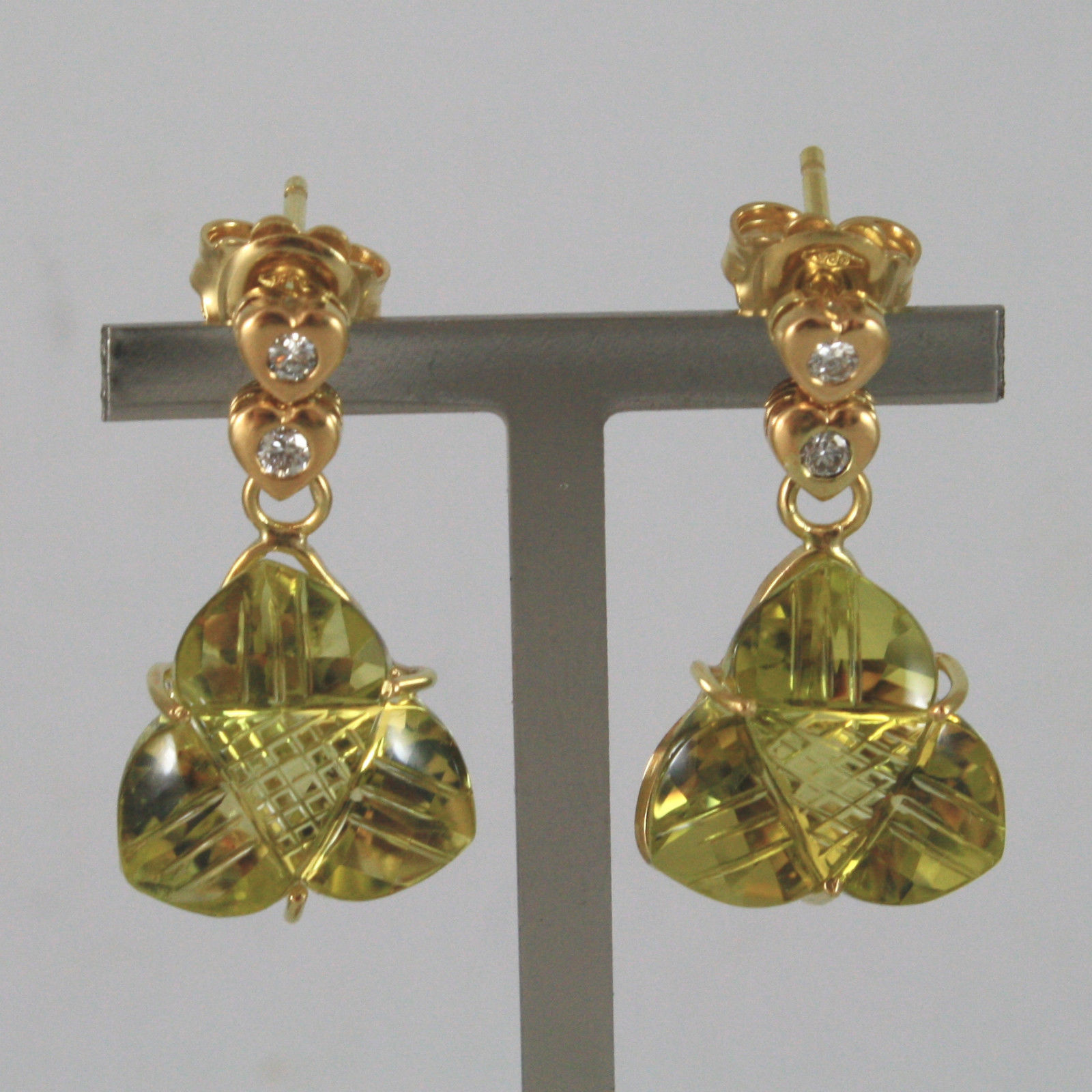 SOLID 18K YELLOW GOLD EARRINGS, WITH DIAMONDS AND LEMON QUARTZ, MADE IN ITALY