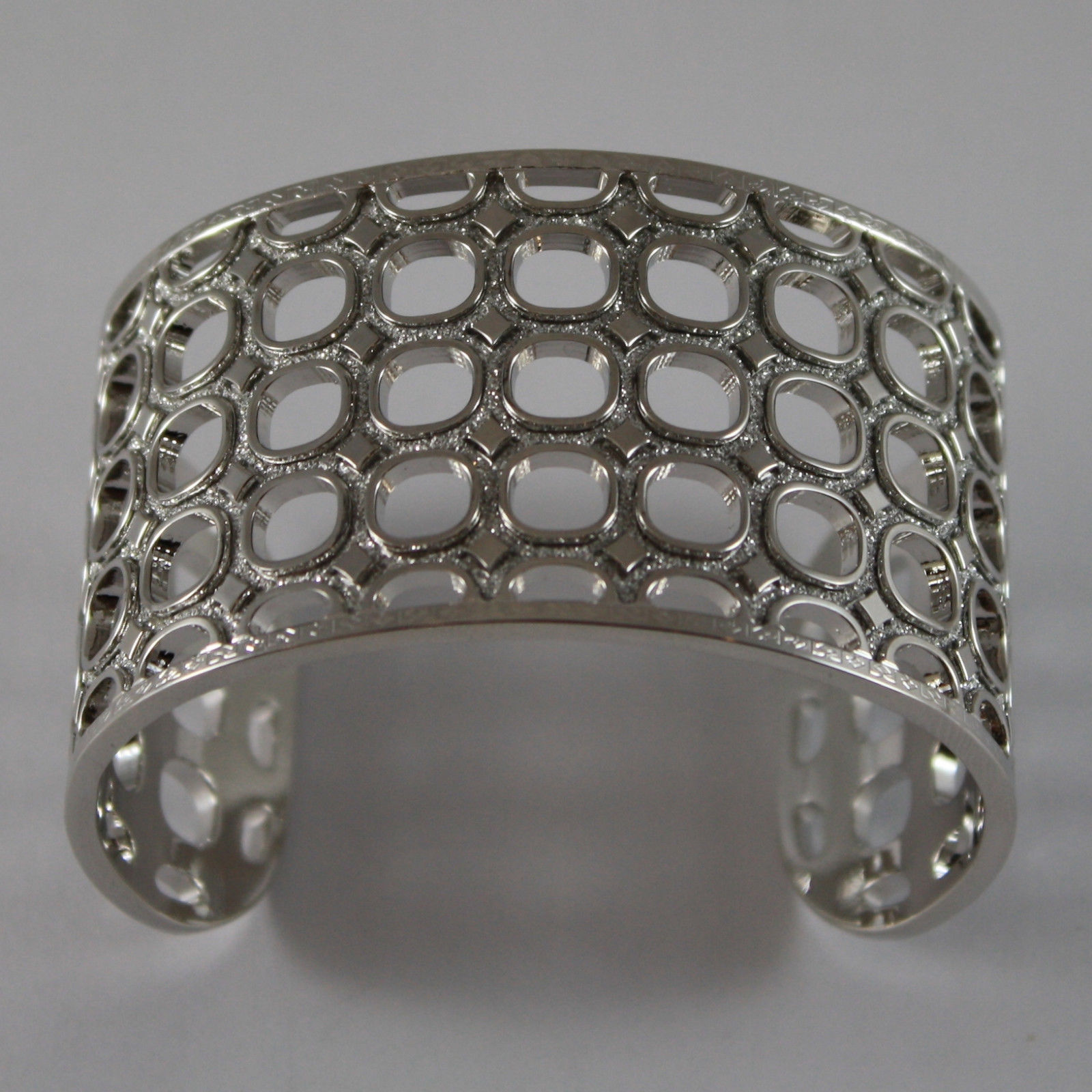 RHODIUM PLATED BRONZE REBECCA BRACELET WITH SQUARES B70BBB04 DIAMETER 2.1 INCHES
