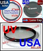 For Canon Powershot SX50 HS 67mm Filter Adapter Ring + UV Filter + Lens ... - $26.01