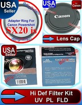 Filter Set UV + Adapter + Lens Cap For Canon Powershot SX20 IS Sx20is Ca... - $30.55