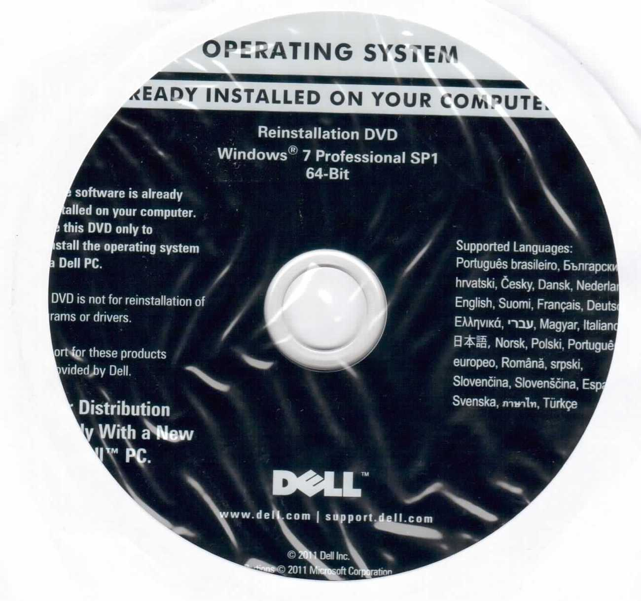DELL Windows 7 Professional / SP1 64-bit Reinstallation DVD Disc