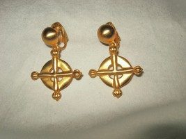Anne Klein Circle Cross matte gold tone dangle clip earrings  signed! - $39.59