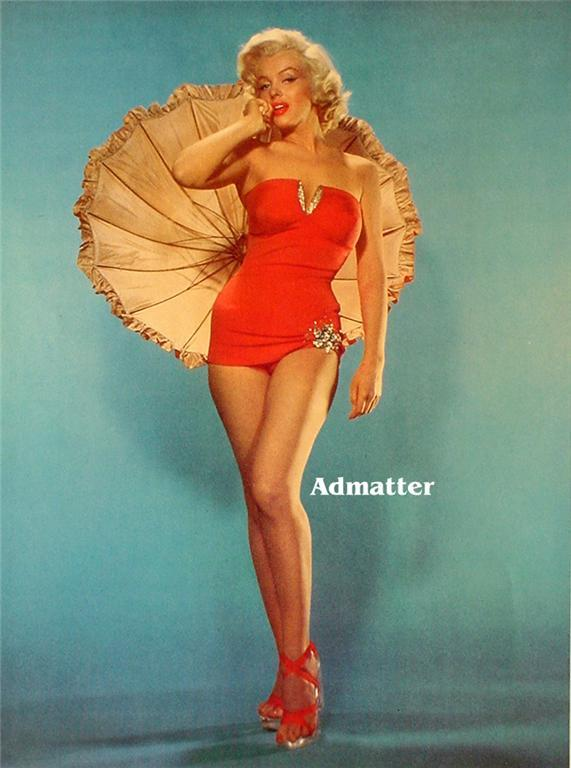 Marilyn Monroe Old 2-Sided Pinup Poster Sexy Hot Photo!