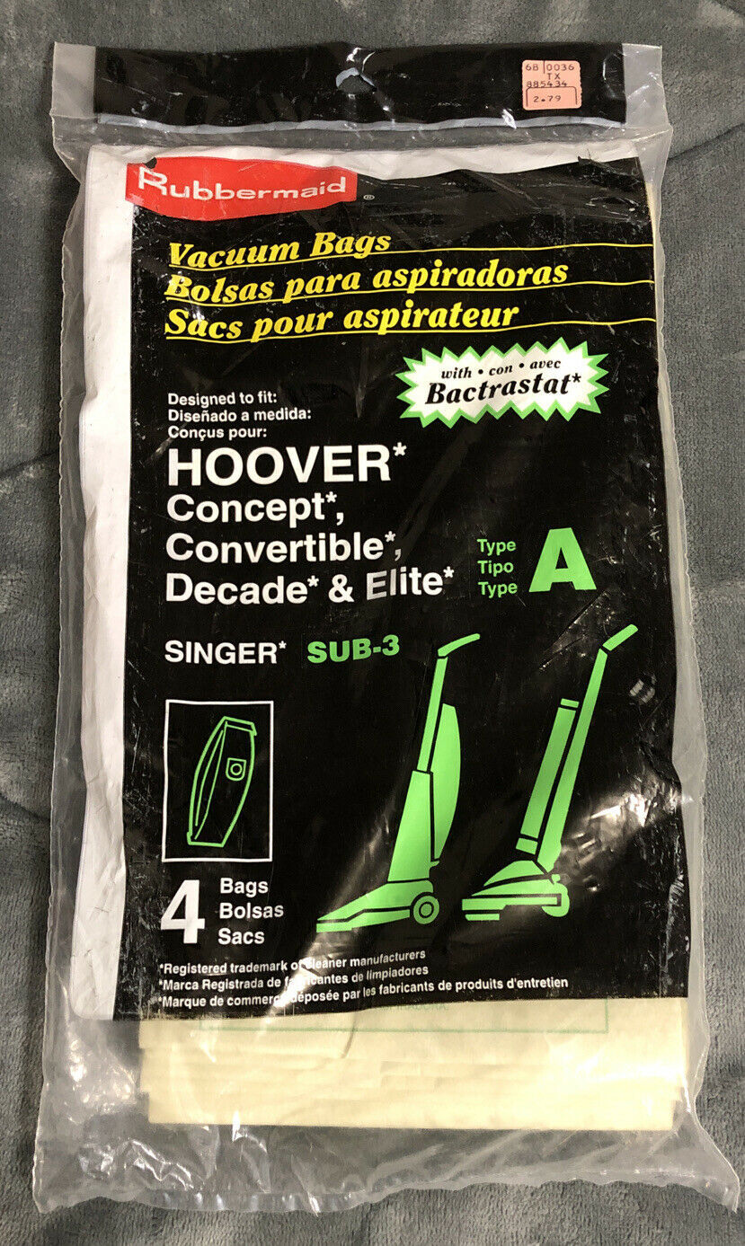 Primary image for (4) Pack - Rubbermaid Type A Hoover Vacuum Bags - New Unopened