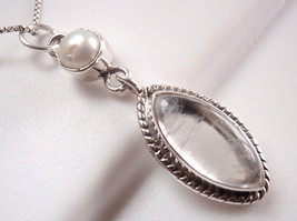 Pearl and Rose Quartz Pendant 925 Sterling Silver Rope Style Accented Pe... - $13.85