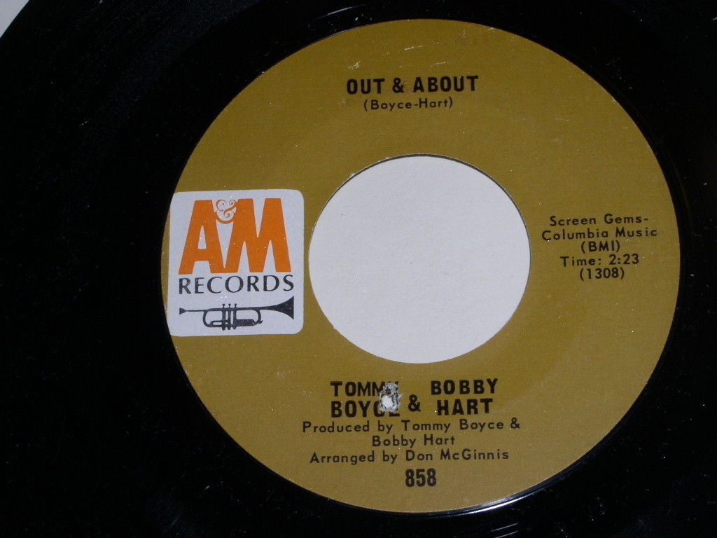 Boyce & Hart Out & About My Little Chickadee 45 Rpm Record Vintage A&M Label