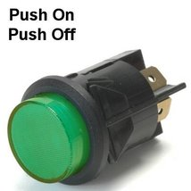 16 Amp Push Off / Push On Push Button Switch With Tab Terminals Lights Up Green  - $25.95
