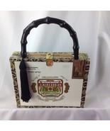 Funky Designer Cigar Box Purse Handmade Handbag Bamboo Handle Dragon Dam... - $64.35