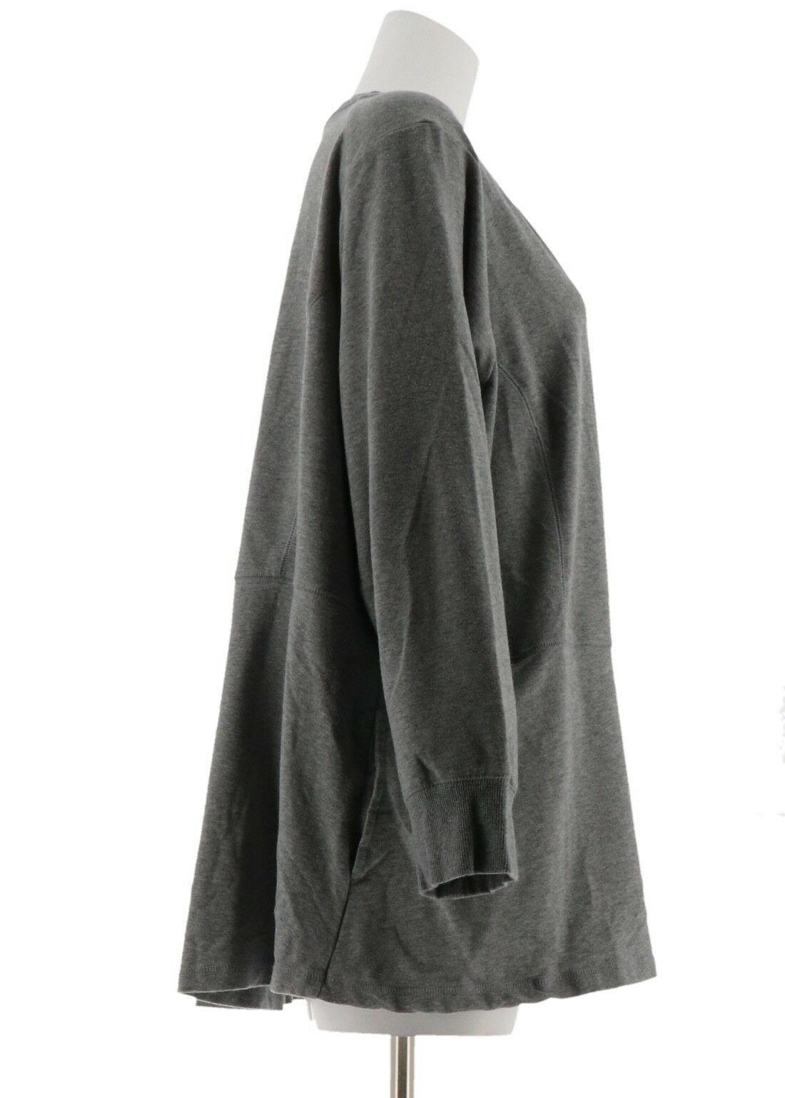Denim & Co Molleton Fermeture Éclair Haute/Basse Gilet en Tricot Md Gris Bruyère