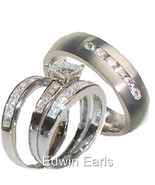 His & Hers 4 Piece Princess Cz Wedding Band Rin... - $59.99
