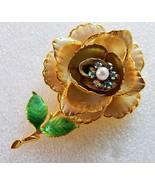 Vintage Brooch Earring Cream Enamel Rhinestone Pearl Rose Floral Set Gold Plate - $29.02