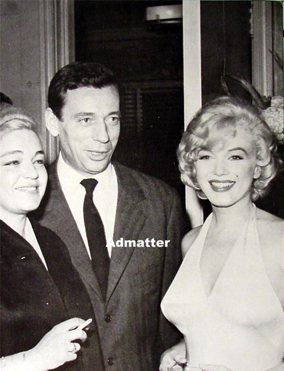 Marilyn Monroe & Yves Montand old Pin-up Poster Pic with Friends