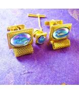 Vintage Eerie Moonstone Cufflinks Gold Mesh Wrap Iridescent Blue Rainbow... - $125.00