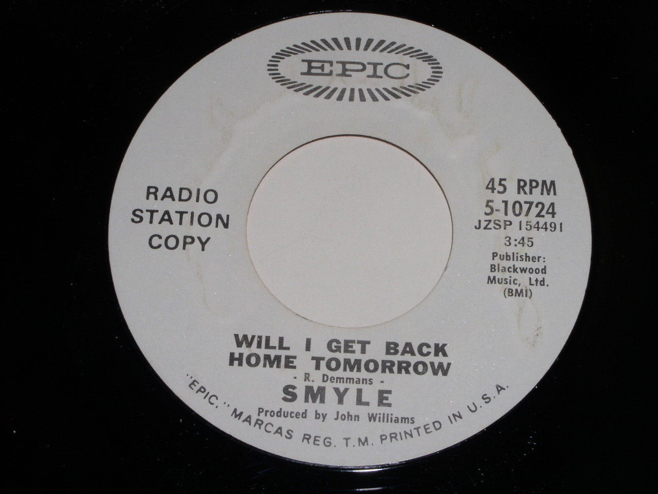 Smyle Glory Glory Will I Get Back Home Tomorrow 45 Rpm Record Epic Promotional