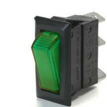 Off / On 20 Amp Rectangular Rocker Switch Lights Up Green When Switch Is Turned  - $13.50
