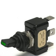 Green Led Tip Off / On 30 Amp Sand Sealed Toggle Switch With Tab Terminals - $25.09