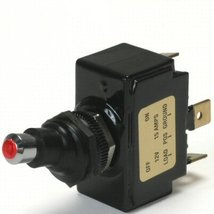 Red Lighted Tip Off / On 15 Amp Sand Sealed Toggle Switch With Tab Terminals - $24.84