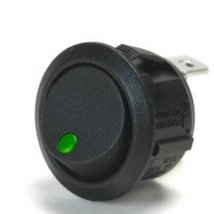 Off / On 10 Amp Round Rocker Switch The Dot Lights Up Green When Switch Is Turne - $18.95
