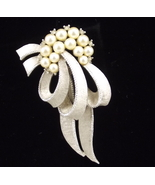 Crown Trifari pearls and ribbon brooch pin text... - $25.00