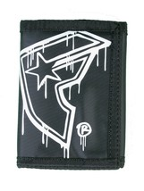 Famous Stars and Straps Men's Nylon Black/White Sloppy BOH Trifold Wallet