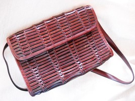 VINTAGE ANN TAYLOR BROWN WOVEN LEATHER PURSE W. DETACHABLE LEATHER STRAP - $14.99