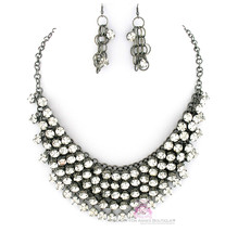 Chunky Womens Dressy Clear Prom Cascading Hematite Crystals Bib Necklace Set image 2
