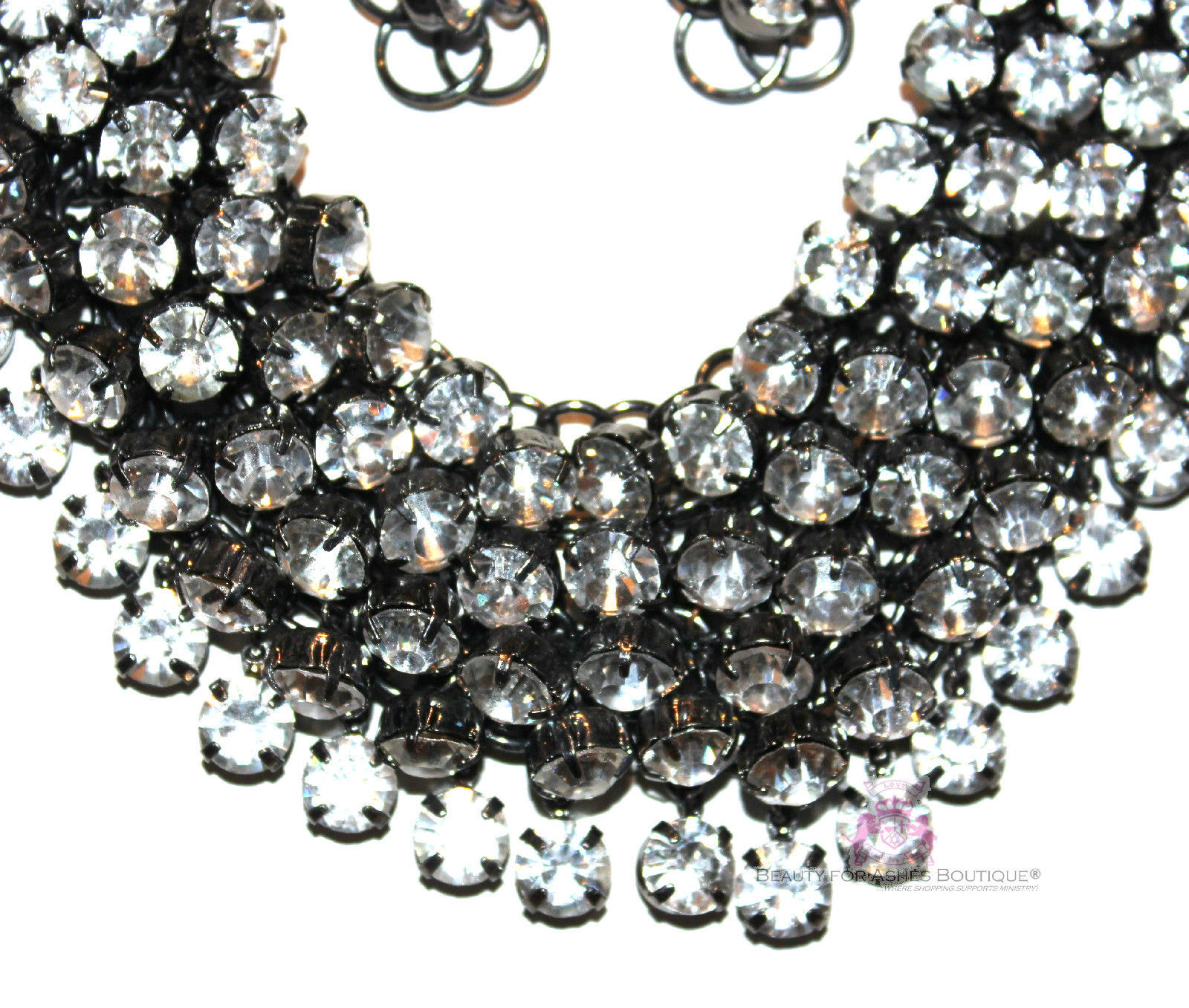Chunky Womens Dressy Clear Prom Cascading Hematite Crystals Bib Necklace Set image 3