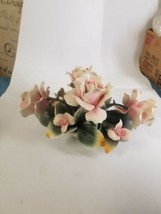 Capodimonte Rose Center Piece Floral Porcelain Made In Italy - $56.05