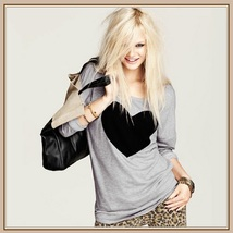 Black Heart Long Sleeve Gray Tee Shirt Cotton Top - $46.95