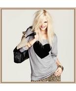 Black Heart Long Sleeve Gray Tee Shirt Cotton Top - $46.95