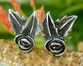 Vintage Sarah Coventry Rose Bud Leaf Earrings Clip Silver Tone 1970s - $9.95