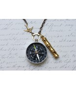 Lost at Sea, Compass Necklace, Working Compass Necklace, Compass and Whistle Nec - $30.00