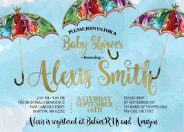 PRINTABLE Whimsical Umbrella Baby Shower Invitation Personalized Baby Sp... - £5.46 GBP