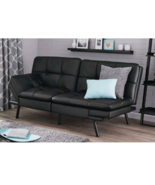 Adjustable Futon Leather Sofa Convertible Foldable Couch Sectional Bed B... - $214.49