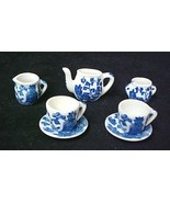 Blue Willow Childs 7 piece Miniature Mini Tea Set Birds Pagodas New - $29.37